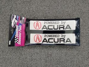 """x2 New Black Car Seat Belt Covers / Shoulder Pads - """"Powered by Acura"""" 10.5""""x3"""""""