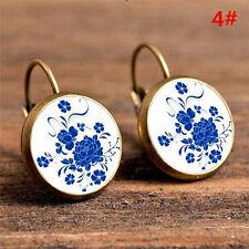 2x Elegant Round Stud Ear Vintage Women Girls Lady Crystal Flower Hoop Earrings 5