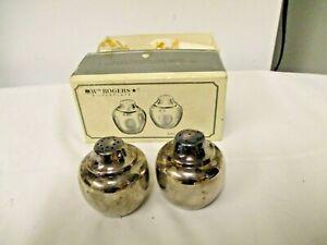 Wm Rogers Silverplate Salt/Pepper Shakers #864-International Silver-Original Box