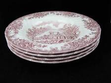Churchill England The Brook Pink Rimmed Soup Bowls (4)