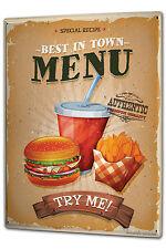 Tin Sign XXL Food Restaurant Burger menu metal plate plaque