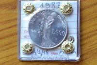 MONETA REPUBBLICA ITALIANA 500 LIRE 1987 LEOPARDI ARGENTO sigillata FDC