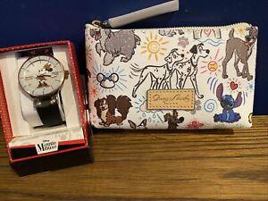 DISNEY Dogs Dooney & Bourke Sketch Cosmetic Case Bag W/ BONUS NIB MINNIE WATCH