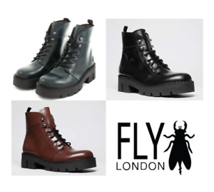 Fly London BOLA009FLY Ladies Glass Leather Flat Comfort Chunky Boot Lace Up