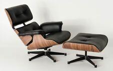 Retro Black All Italian Leather Lounge Chair + Ottoman Charles&Ray Eames Replica