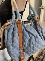 BRAND NEW QUILTED BLUE DENIM BROWN MEDIUM PURSE HANDBAG BAG SHOULDER HOBO BAG