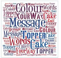 Word Art Personalised Edible Icing Cake Topper Square Round Pre cut
