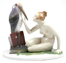 Art Deco Fraureuth Kunstabstellung Porcelain Nude and Stork Figure Circa 1925