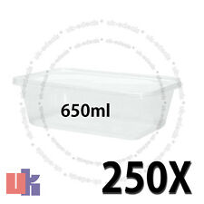 250 Square Plastic Kitchen Food Takeaway Box Containers & Lid 650ml 178x125x48mm