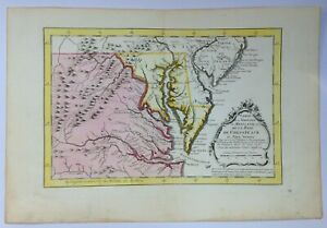 AMERICA 1750 CHESAPEAKE BAYE by NICOLAS BELLIN NICE ANTIQUE ENGRAVED MAP