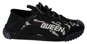 DOLCE & GABBANA Shoes Stretch Black DG Queen Casual Sneakers Womens EU39 / US8.5