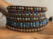 MultiColor Five Wrap Leather Bracelet Beaded Picasso Beads on Leather Handmade