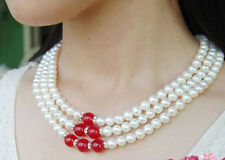 pearl & Red Ruby Beads Necklace 3Rows Genuine 7-8mm Natural White akoya cultured