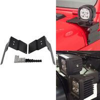 For Jeep Wrangler JL 2018-2019 A-Pillar LED Work Light Mounting Brackets Black