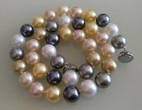 12 mm Mehrfarbig Muschelkernperlen  Halskette, Magnetschnalle,18 inch