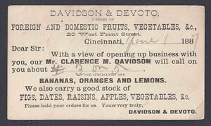 1887 DAVIDSON & DEVOTO CINCINATTI, FOREIGN & DOMESTIC FRUITS & VEGETABLES