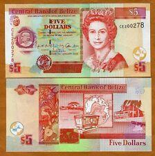 Belize, 5 Dollars, 2002, QEII, P-61b, UNC