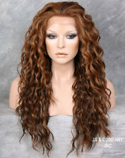 Brown Auburn Blonde mix HEAT SAFE Lace Front Wig Curly Long Layered NGTA 4/27/30