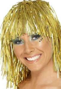 60s 70s 80s 80's Ladies Tinsel Fancy Dress Cyber Wig Hen Gold New by Smiffys