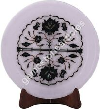 "8""x8"" Marble Handmade Round Plate Decorative Black Z Inlay Art Columbus Gift"