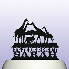 Personalised Acrylic Giraffe Safari Animal Birthday Cake Topper Decoration