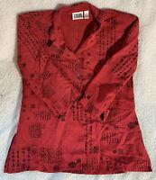 CHICO'S DESIGN 70% silk button front top size 3 oriental design Red