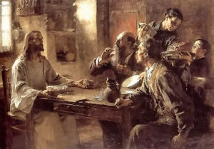 Oil painting leon augustin lhermitte supper at emmaus Jesus the last supper art