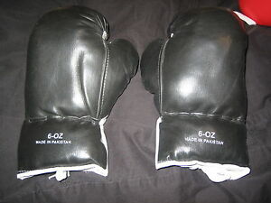 BRAND NEW NEVER USED 100% AUTHENTIC 6OZ YOUTH SYNTHETIC BOXING GLOVES BLACK NICE
