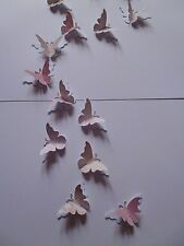 20 3d VINTAGE STYLE BUTTERFLY  CHIC TOPPER WALL DECORATION STICKERS dusky pink