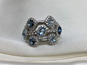 Judith Ripka Multi-Gemstone Sterling Silver 925 Ring Size 9.75*