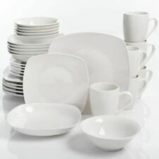 30-Piece White Gibson Home Square Porcelain Dinnerware Set 6 Place Settings New