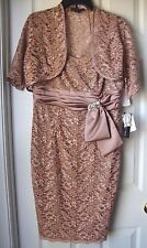 BRAND NEW KM COLLECTION by MILLA BELL 2 PIECE METALLIC LACE DRESS OATMEAL SIZE 8