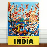 "Stunning Vintage Travel Poster Art ~ CANVAS PRINT 36x24"" India Cachemira"