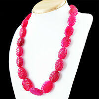 746.00 Cts Earth Mined Single Strand Rich Red Ruby Oval Carved Beads Necklace