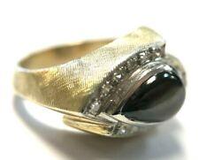 Vintage 14K Gold Etched Teardrop Tiger's Eye Diamond Ring (Size 8, 8.5 Grams)