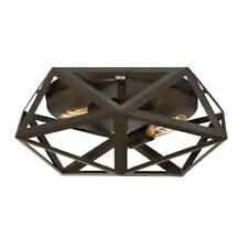 Quoizel Liberty Park 13-in W Bronze Flush Mount 2-Light Ceiling Fixture