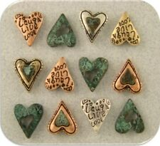 "2 Hole Beads Mini Hearts ""Live Laugh Love"" Engraved Filigree 4T ~ Sliders QTY 12"