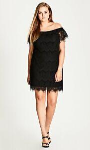 City Chic Black Lace Off-Shoulder Shift Dress S RRP$99
