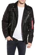 NEW Alpha Industries Outlaw Biker Nylon Moto Jacket - Black - Medium