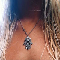 Good Luck Protection Hamsa Symbol Fatima Hand Evil Eye Pendant Necklace Ek