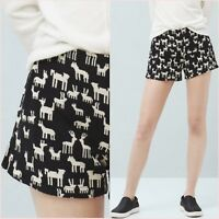 Black White Knit Jacquard Shorts Size XS S UK 6 8 US 2 4 Blogger ❤
