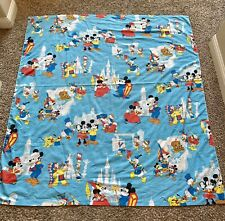 Vtg Walt Disney Frontierland Twin Flat Sheet Bedding Blue Mickey Mouse Fabric