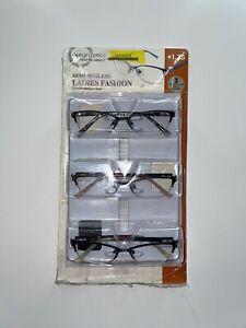 Design Optics by Foster Grant 3-Pack Reading Glasses Semi-rimless Ladies +1.25