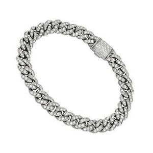 5.40CT NATURAL DIAMOND 14K SOLID WHITE GOLD WEDDING CUBAN LINK BRACELET FOR MEN