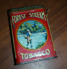 VINTAGE RARE FOREST AND STREAM TOBACCO POCKET TIN CANADIAN FLY FISHING L@@K