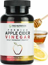 TRIO NUTRITION Premium ACV APPLE CIDER VINEGAR - 60 softgels - 07/2021 - NEW
