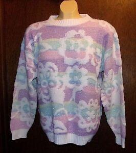Vtg Fairy Kei SPARKLE Sweater One Size Petite Flower Stripe PASTEL Colors Kawaii