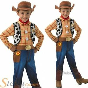 Boys Deluxe Woody Toy Story Cowboy Fancy Dress Costume + Hat Kids Outfit