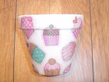 Hand Painted + Decoupaged Flower Pots 11 cm ( Terracotta ) Cup Cakes # 5