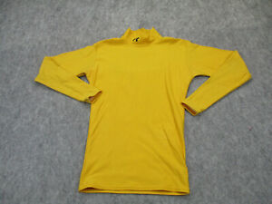 Under Armour Shirt Mens Small Yellow Mock Neck Tee Coldgear Fitted Adult